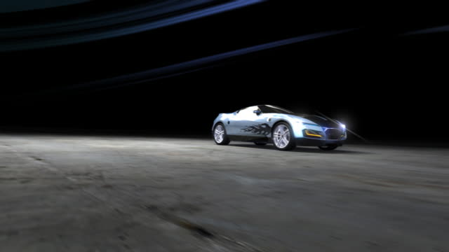 Racing Sports Car in abstract wind tunnel video