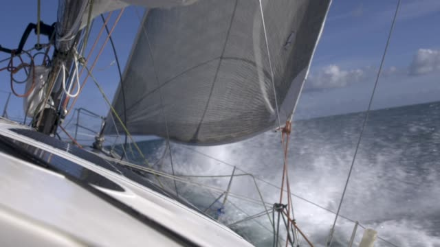 Racing Yacht Bow Right bow of a racing yacht mast sailing stock videos & royalty-free footage
