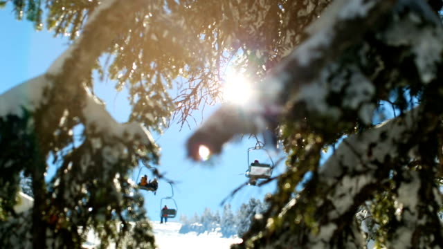 Rack Focus Winter scene. Sunbeams hitting the lens through snowy pine branches while ski lift passes at the background