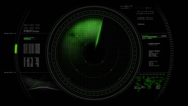 Radar Screen HUD Animation 4K Radar Screen Animation detecting enemies. navigational compass stock videos & royalty-free footage