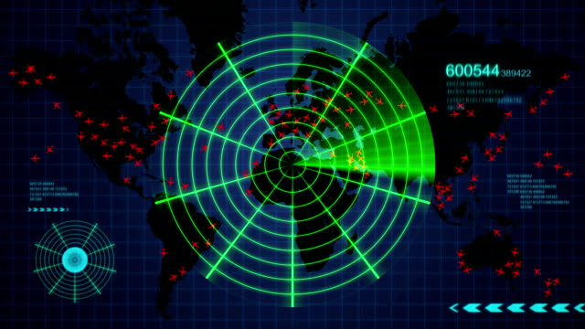 Radar showing flight tracking of aircraft around the world video