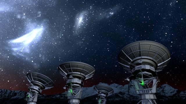 radio telescope array natt time-lapse - parabolantenn bildbanksvideor och videomaterial från bakom kulisserna