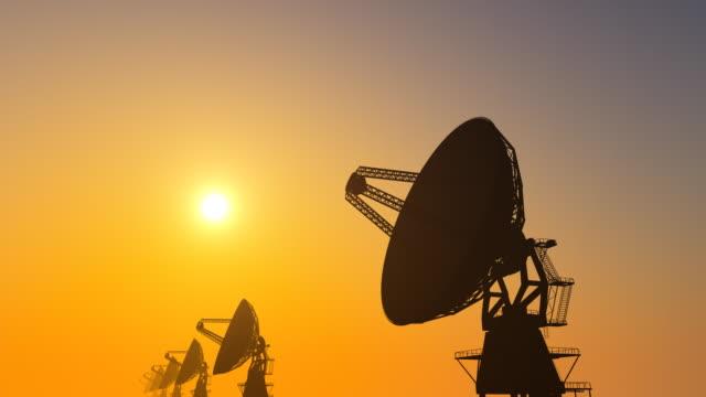 Radio Telescope Array on Sunset video