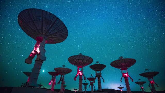 radio teleskop nattetid, tids fördröjning - parabolantenn bildbanksvideor och videomaterial från bakom kulisserna