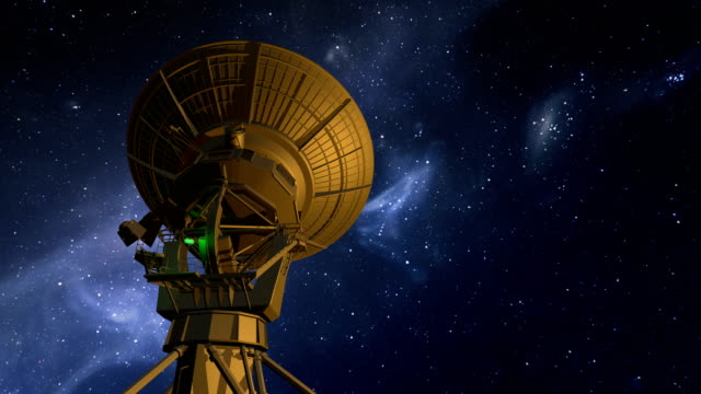 radio telescope explores night sky - physics stock videos and b-roll footage
