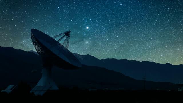 radioteleskop sternwarte mit steigenden milky way, verkleinern - satellitenschüssel stock-videos und b-roll-filmmaterial