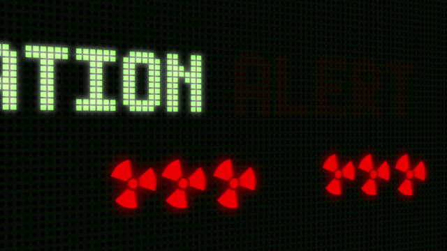 Radition Alert Signal on the  Screen with skull - animation