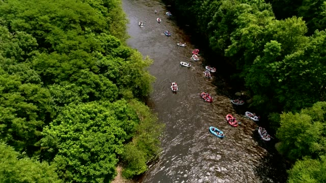 rafting at the lehigh river near by jim thorp (mauch chunk), carbon county, poconos region, pennsylvania - горы поконо стоковые видео и кадры b-roll