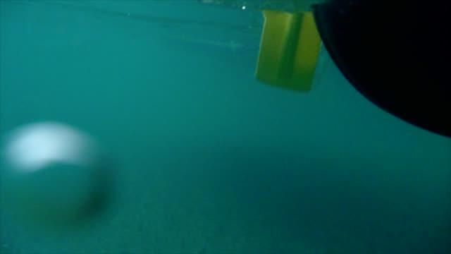 Rafting paddle through water - underwater footage video