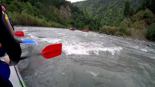 Rafting Team Floating Down River With Paddles Ready