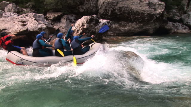 HD: Rafting HD1080i: White water rafting on the rapids of the river Soca in Slovenia, Europe. Tripod. Sound. rapids river stock videos & royalty-free footage