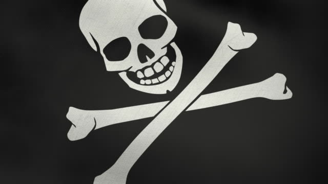3D ragged flag of Pirates video
