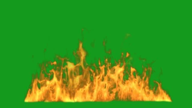 vídeos de stock, filmes e b-roll de gráficos de movimento de fogo furiosos com fundo de tela verde - fogo