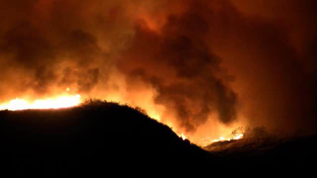 raging wildfire in hills (hd) - skog brand bildbanksvideor och videomaterial från bakom kulisserna