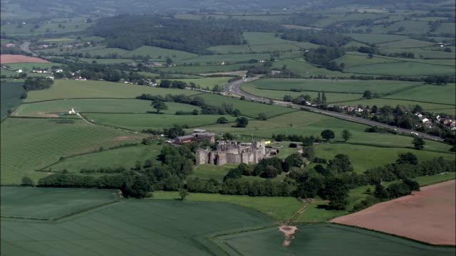 Raglan Castle  - Aerial View - Wales,  Monmouthshire,  helicopter filming,  aerial video,  cineflex,  establishing shot,  United Kingdom video