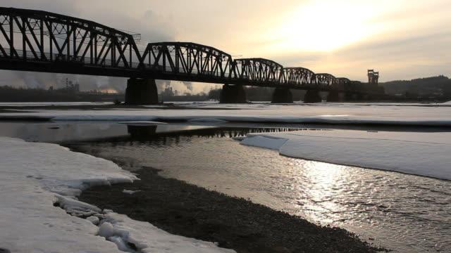 ponte ferroviario, fiume fraser, di prince george - fiume fraser video stock e b–roll