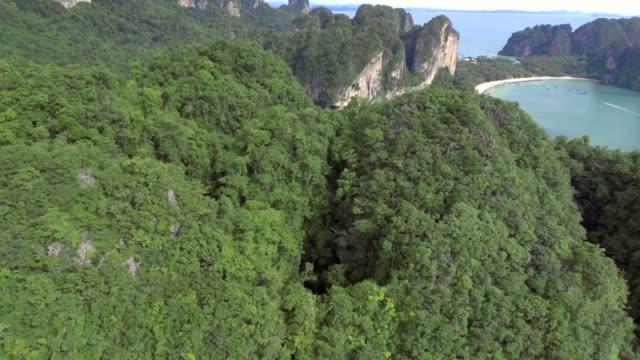 vídeos de stock e filmes b-roll de railey beach in krabi, thailand, aerial view - multicóptero