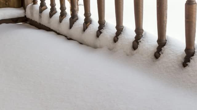 Railing veranda under the snow