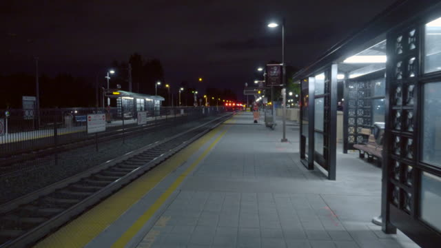 railroad castro station in mountain view, california at night time. - social distancing stock videos & royalty-free footage