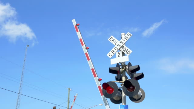 CLOSE UP: Railroad crossing sign with red lights flashing and barriers lowering