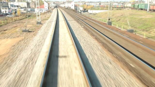 Railroad track at high speed POV Railroad track at high speed POV intercity stock videos & royalty-free footage