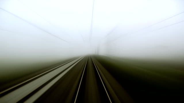 Railroad tracks in moving, SEAMLESS LOOP, with strong motion blur video