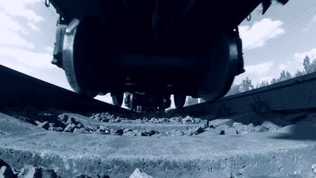 railroad tracks railways train transport system fast speed - parapetto barriera video stock e b–roll