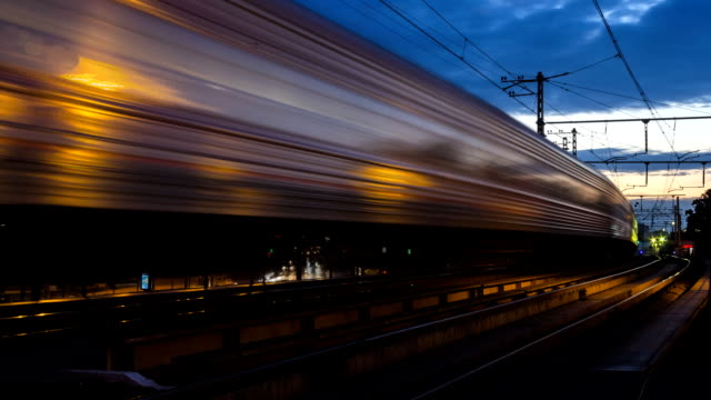 railroad train fast motion time lapse - subway video stock e b–roll
