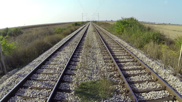Railroad Rail track.See more aerials of many types in my portfolio  intercity stock videos & royalty-free footage