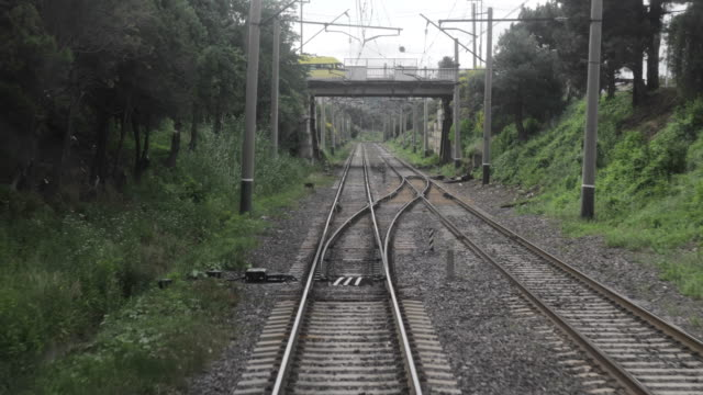Railroad view from the window of the last railway carriage video