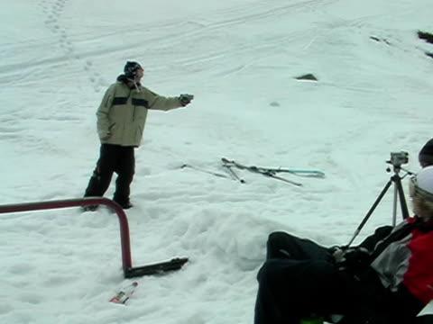 Railslide 4 Skier sliding a rail. railing stock videos & royalty-free footage