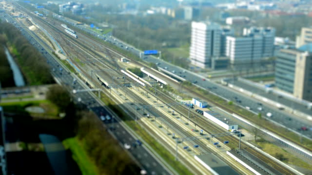 Railway and highway traffic in Amsterdam video