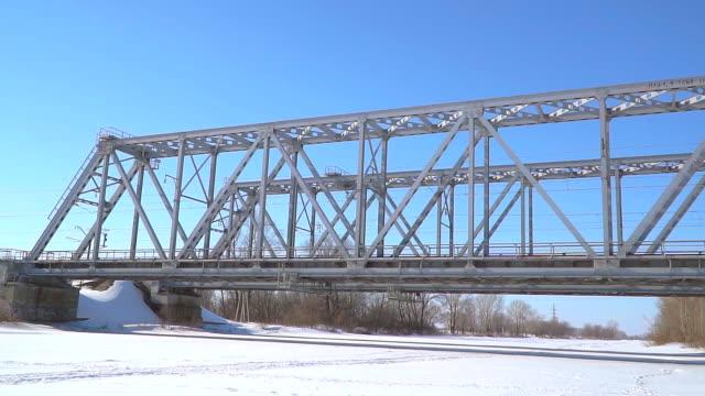 Railway bridge over the winter river video