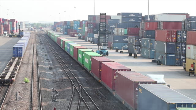 Railway cargo containers. video