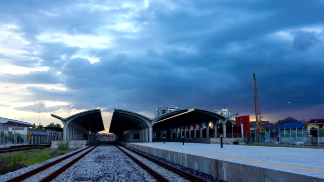 HD Railway station pan left on time lapse video