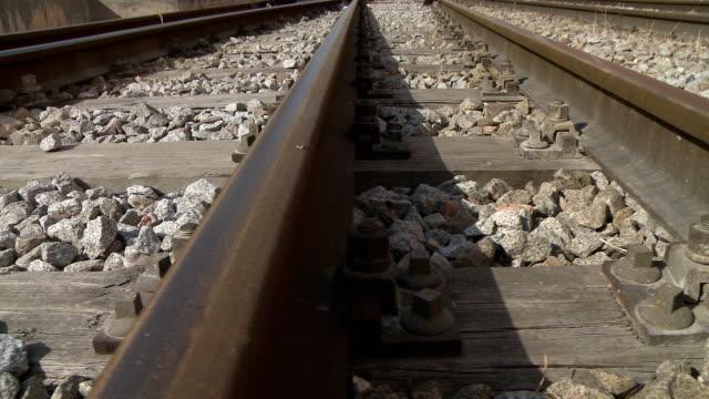 Railway tracks dolly shot video