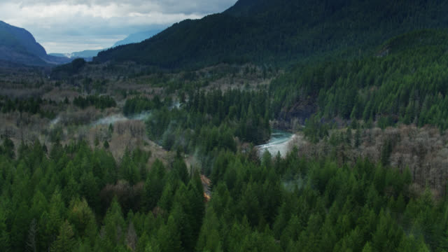 Railway Tracks Through Forest Along Fast Flowing Skykomish River - Drone Shot