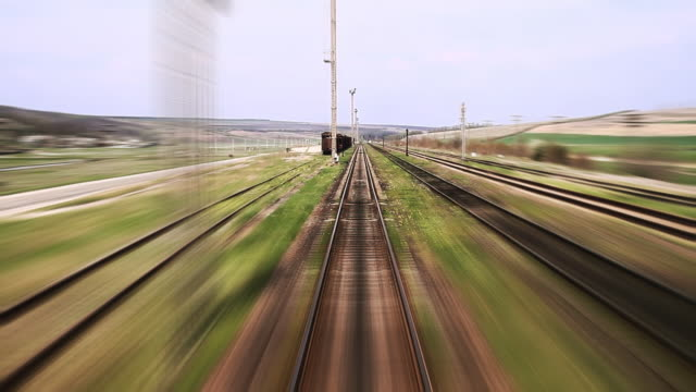 Railway travel - time lapse Railway train travel tramway videos stock videos & royalty-free footage