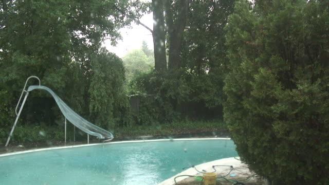 vídeos y material grabado en eventos de stock de lluvia 2, hd de 1080 de 60i - backyard pool