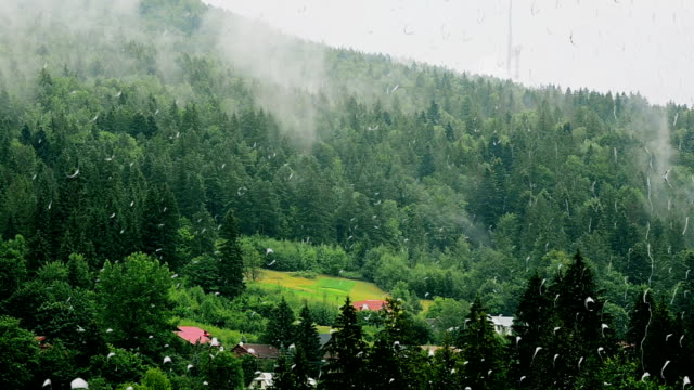 Rain and mountains. View from the window. video