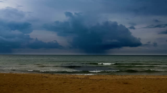 Rain clouds on the sea video