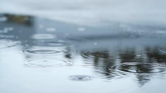 Gotas de chuva caindo no chão, câmera lenta
