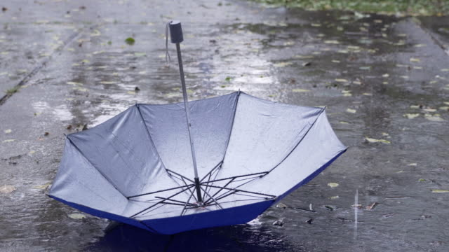 vídeos de stock e filmes b-roll de rain drops keep falling on the umbrella in rainy season - chapéu