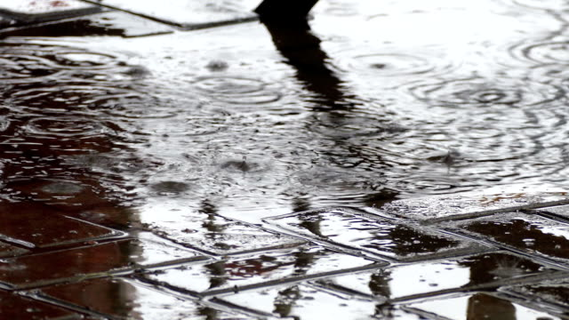 Rain drops on a paved road in the summer in the city video