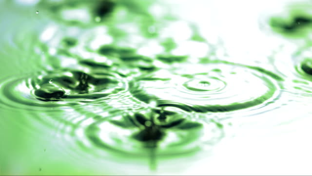 Rain Drops Splashing Into Puddle (Super Slow Motion) HD1080p: Super Slow Motion Close-Up shot of rain drops splashing on a puddle surface with a reflection of green leaves. Recorded at 2000 fps. green leaf stock videos & royalty-free footage