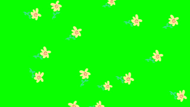 Rain Effects. doodle flowers, botanical background, on green background decorative, abstract leaves pattern animation. video. Cover design. stock footage 4k.