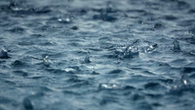 Rain Fall At Swimming Pool Slow Motion