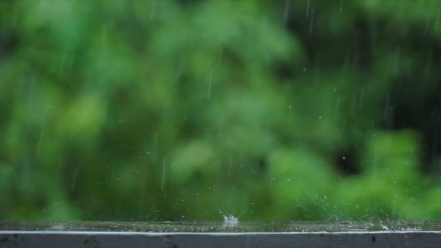 Rain Fall On Wall Background Slow Motion