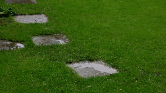 Rain falling into puddles formed on garden stepping stones. video