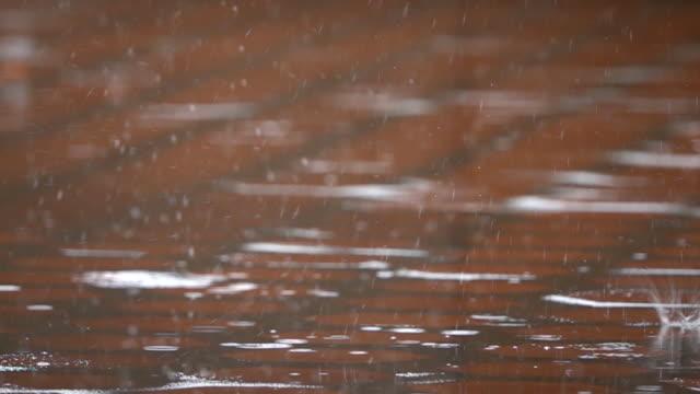 rain falling on pavement in slow motion. - pioggia torrenziale video stock e b–roll